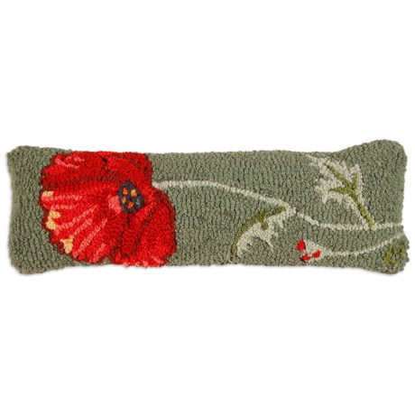 "Chandler 4 Corners Poppy Hand-Hooked Wool Pillow - 8x24"""