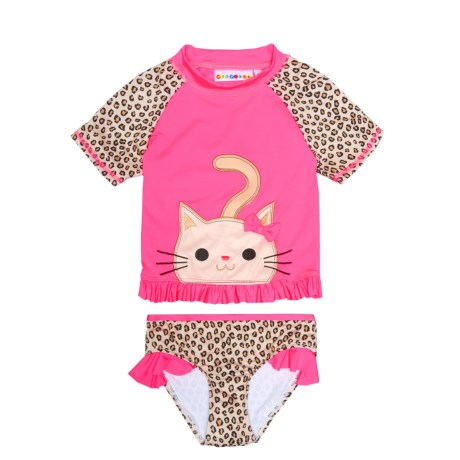 Wippette Cat Rash Guard and Brief Set - UPF 50, Short Sleeve (For Toddler Girls)