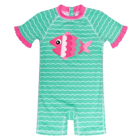 Wippette Fish Baby One-Piece Swimsuit - UPF 50+, Short Sleeve (For Infant Girls)