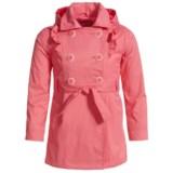 Pink Platinum Twill Ruffles Trench Coat (For Big Girls)
