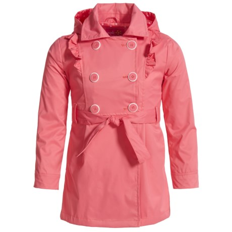 Pink Platinum Twill Ruffles Trench Coat (For Big Girls)