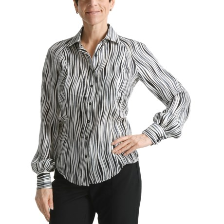 Audrey Talbott Silk Blouse - Wavy Print, Long Raglan Sleeve (For Women)