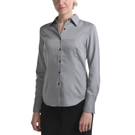 Audrey Talbott Aly Classic Cotton Shirt - Tie Fabric Trim, Long Sleeve (For Women)