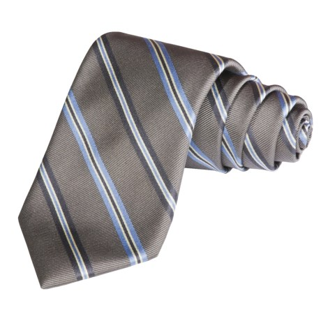 Altea Wide Stripe Tie - Silk-Cotton (For Men)