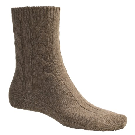 Johnstons of Elgin Cable Bed Socks - Cashmere (For Women)