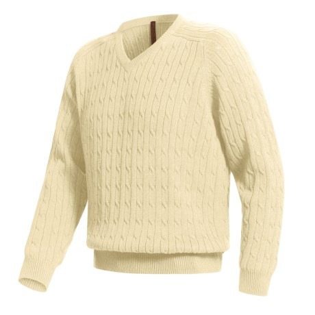 Woods & Gray Cotton Cable V-Neck Sweater (For Men)