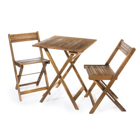 J Hunt Natural Table and Two Chairs Bistro Set - 3-Piece, Horizontal Backs