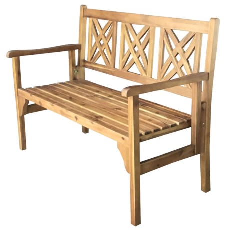 J Hunt Foldable Natural Acacia Bench - Square Back