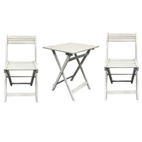 J Hunt Greywash Faux-Teak Bistro Set - 3-Piece, Horizontal Backs