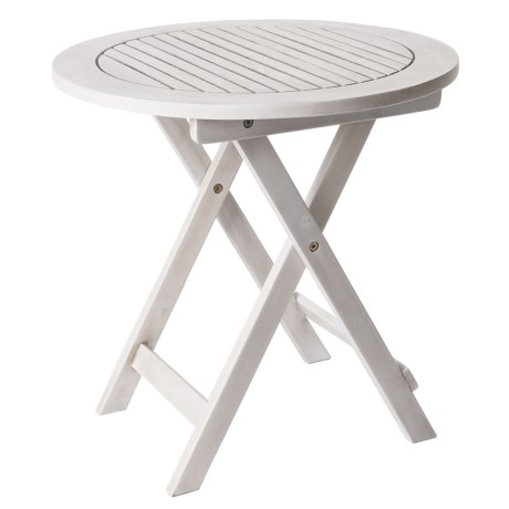 """J Hunt Round Grey-Washed Acacia Side Table - 19.5"""""""