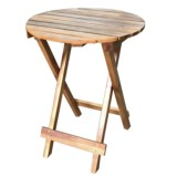 """J Hunt Round Natural Acacia Side Table - 15.75"""""""