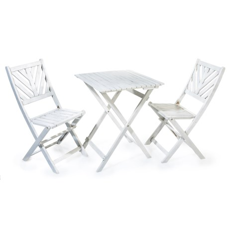 J Hunt Greywash Bistro Set - 3-Piece, Lattice Backs