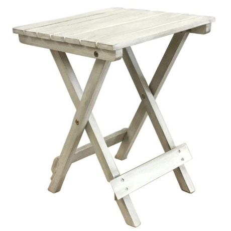 J Hunt Square Grey-Washed Acacia Side Table - 13.75""