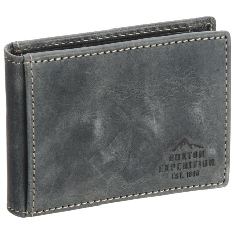 Buxton Expedition RFID Slimfold Wallet with Clip - Leather (For Men)