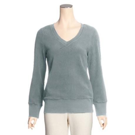 True Grit Cotton Pile Crop Shirt - V-Neck with Rib Trim (For Women)