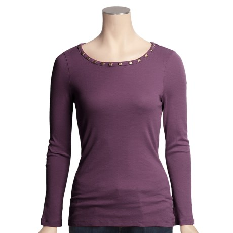 True Grit Studded Neck Shirt - Long Sleeve (For Women)
