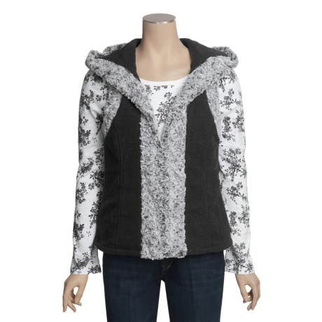 True Grit Bison Fur Vest - Wool-Fleece, Faux-Fur Trim (For Women)