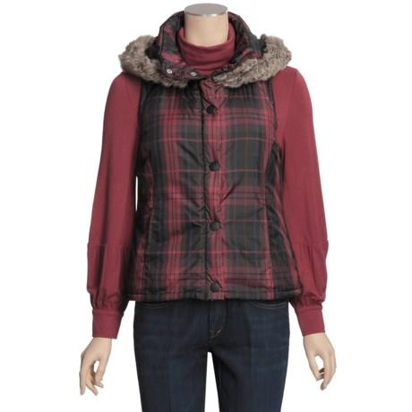True Grit Printed Puffers Hooded Vest - Faux Fur (For Women)