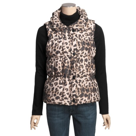 True Grit Printed Puffers Leopard Vest - Black Lining (For Women)