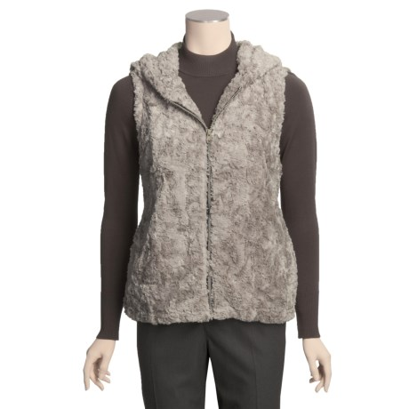 True Grit Silky Faux Fur Crush Vest - Lined, Hooded (For Women)
