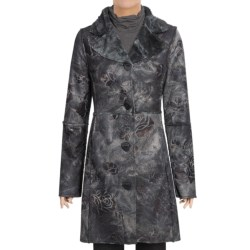 True Grit Embossed Vintage Rose Long Coat - Shawl Collar (For Women)