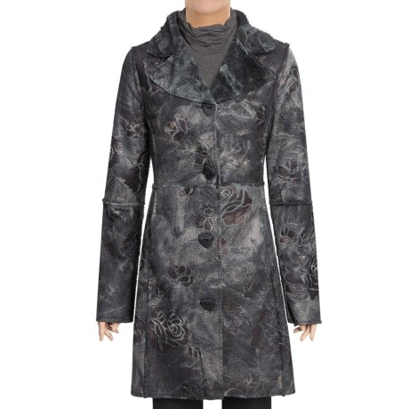 True Grit Embossed Vintage Rose Long Coat - Shawl Collar (For Women)