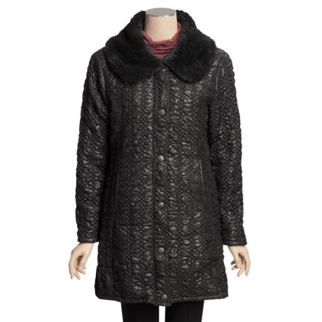 True Grit Bonded Quilted Long Coat (For Women)
