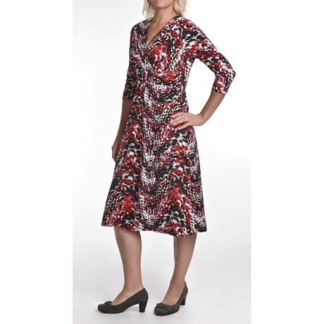 Two Star Dog Faux-Wrap Dress - Travel Knit, 3/4 Sleeve (For Women)