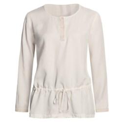 Pulp Crochet Trim Henley Shirt- Waist Tie, TENCEL®, Long Sleeve (For Women)