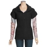 Pulp Button Mock Pullover Sweater - Short Sleeve (For Women)