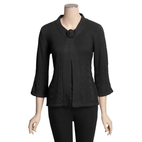 Avalin Textured Cardigan Sweater - 3/4 Sleeve (For Women)