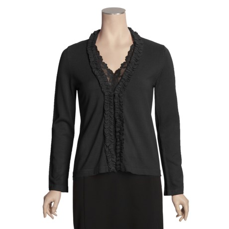 Avalin Ruffled Cardigan Sweater - V-Neck (For Women)