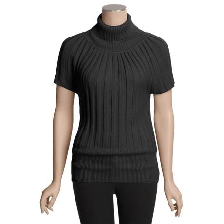 Avalin Ribbed Turtleneck Sweater - Short Sleeve (For Women)