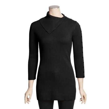 Avalin Side Button Turtleneck - Ribbed, 3/4 Sleeve (For Women)