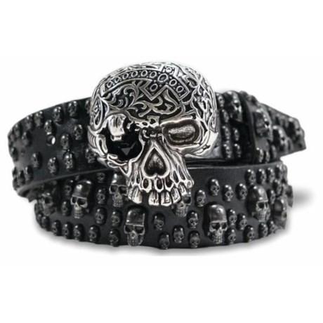 """Bill Lavin Leather Island Skiantos Big Skull Belt - Leather, 1-1/2"""" (For Men)"""