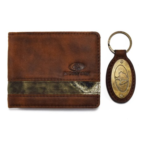 Mossy Oak Embossed Bi-Fold Leather and Camo Wallet with Engraved Key Chain (For Men)