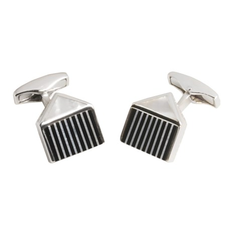 Tateossian Black Agate and Mother-of-Pearl Cufflinks (For Men)