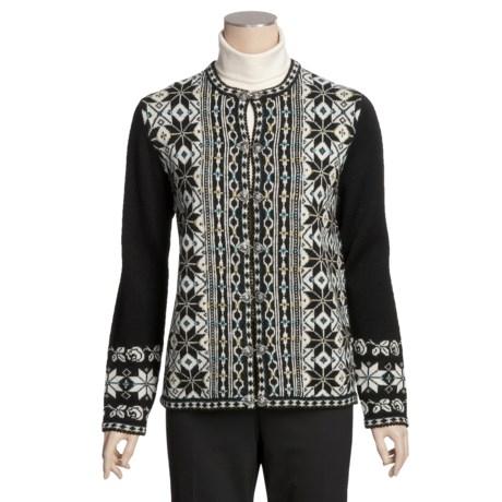 Devold Vrikke Wool Cardigan Sweater - Pewter Clasps Closure  (For Women)
