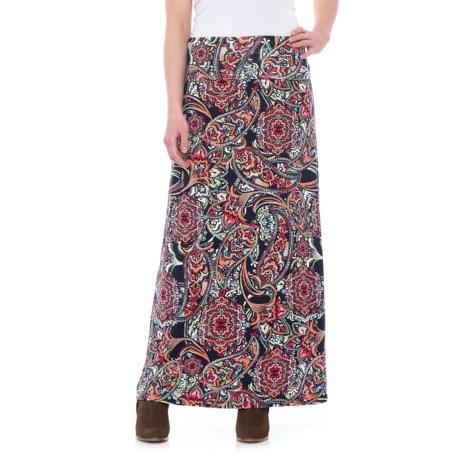 Kenar Print Rollover Waistband Maxi Skirt (For Women)