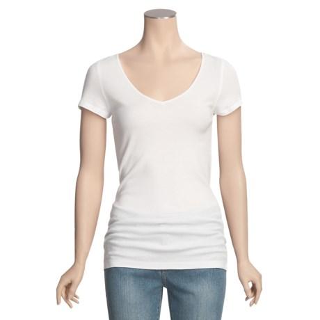 Cotton Knit Shirt - V-Neck, Short Sleeve (For Women)