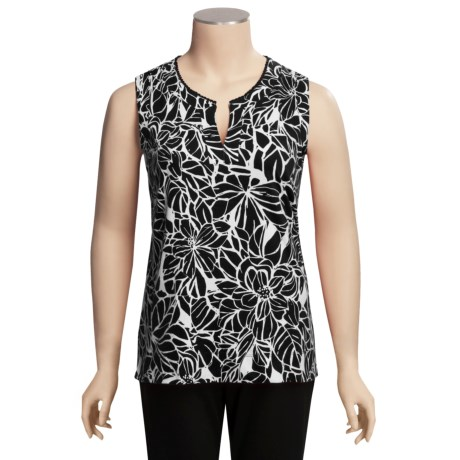 Specially made Split-V Tropical Cotton Knit Shirt - Plus Size, Sleeveless (For Women)