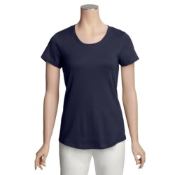 Cotton Knit Shirt - U-Neck, Short Sleeve (For Women)