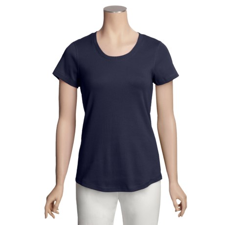 Specially made Cotton Knit Shirt - U-Neck, Short Sleeve (For Women)