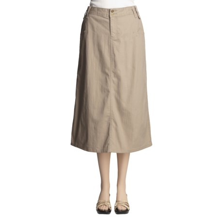 Full-Length Stretch Twill Skirt - Flat Front (For Women)