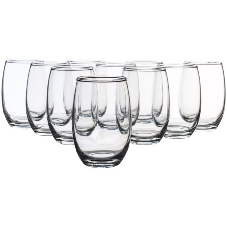 Circle Glass Twilight Stemless Wine Glass Set - 15 oz., 10-Piece