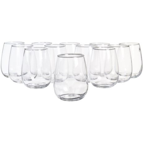 Circle Glass Biltmore Stemless Wine Glass Set - 15 oz., Set of 12
