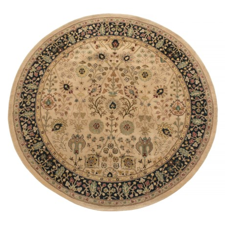 Amer Cardinal Collection Floral Diamonds Area Rug - 8' Round, New Zealand Wool-Cotton