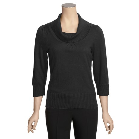 Lightweight Cowl Neck Sweater - Button Cuffs, 3/4 Sleeve (For Women)