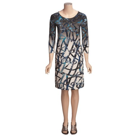 Knit Print Dress - 3/4 Sleeve (For Women)