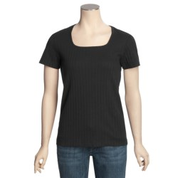 Ribbed Square Neck T-Shirt - Short Sleeve (For Women)